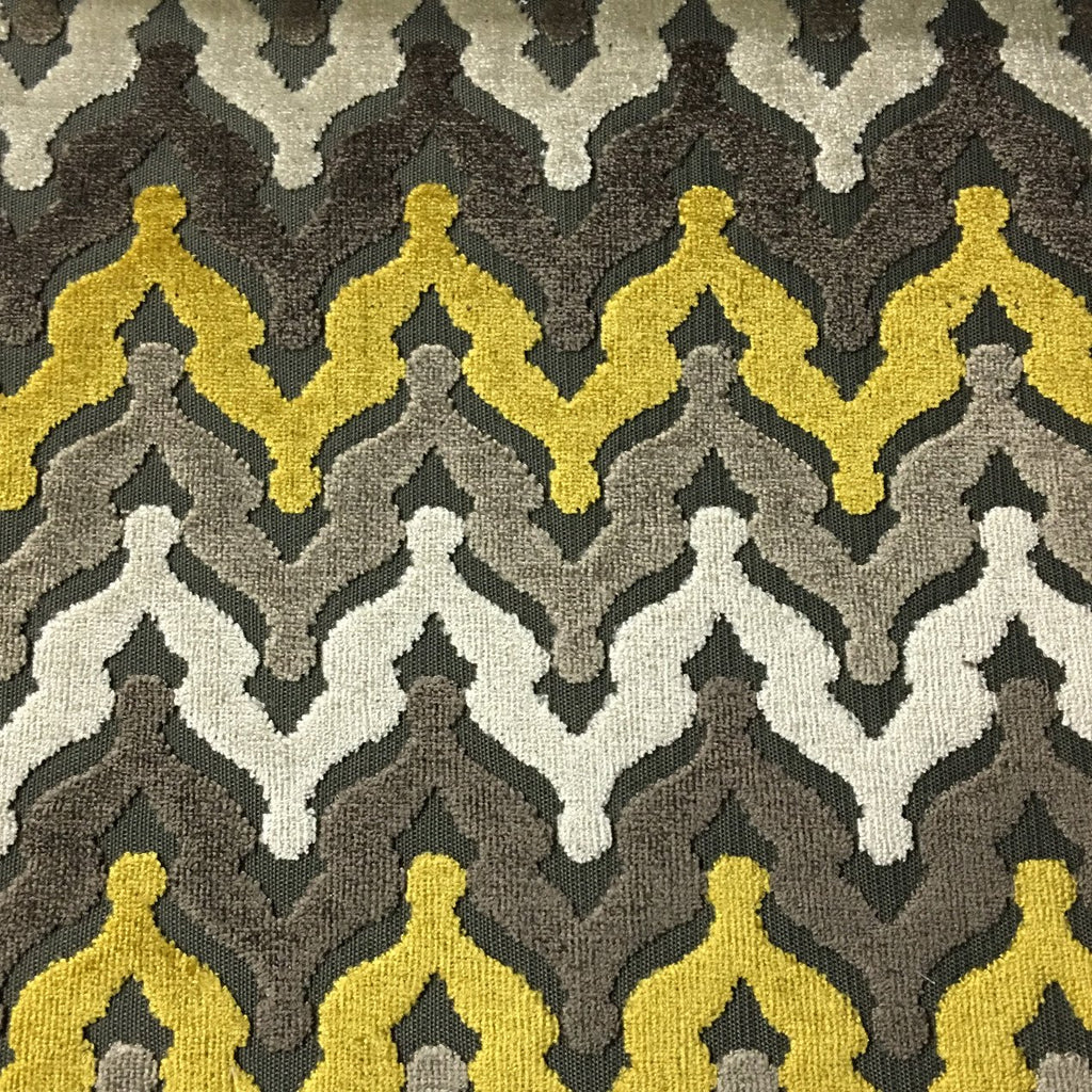 Lennon - Cut Velvet Fabric Drapery & Upholstery Fabric by the Yard - Available in 8 Colors - Golden - Top Fabric - 3