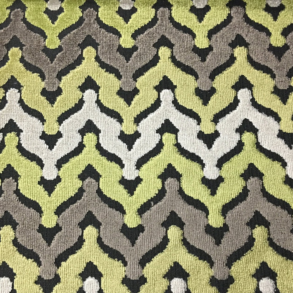 Lennon - Cut Velvet Fabric Drapery & Upholstery Fabric by the Yard - Available in 8 Colors - Grass - Top Fabric - 5