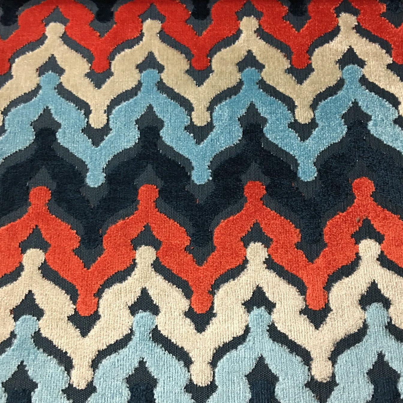 Lennon chevron pattern cut velvet upholstery fabric by for Velvet fabric