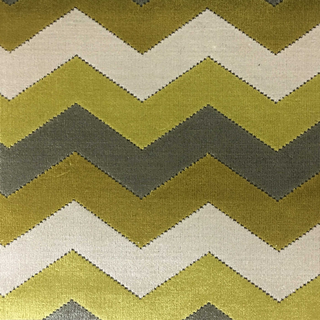 Longwood - Bold Chevron Pattern Cut Velvet Upholster Fabric by the Yard - Available in 10 Colors - Curry - Top Fabric - 8