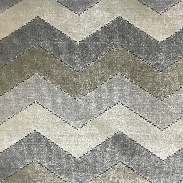 Longwood - Bold Chevron Pattern Cut Velvet Upholster Fabric by the Yard - Available in 10 Colors - Driftwood - Top Fabric - 1