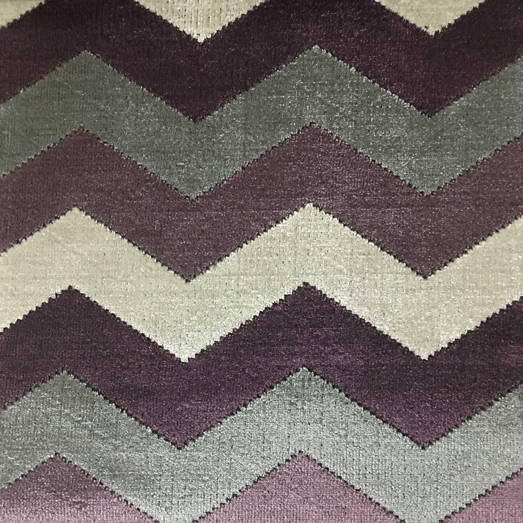 Longwood - Bold Chevron Pattern Cut Velvet Upholster Fabric by the Yard - Available in 10 Colors - Fig - Top Fabric - 5