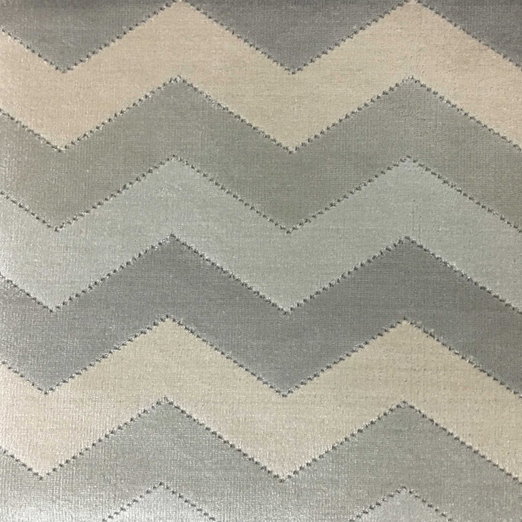 Longwood - Bold Chevron Pattern Cut Velvet Upholster Fabric by the Yard - Available in 10 Colors - Glacier - Top Fabric - 3