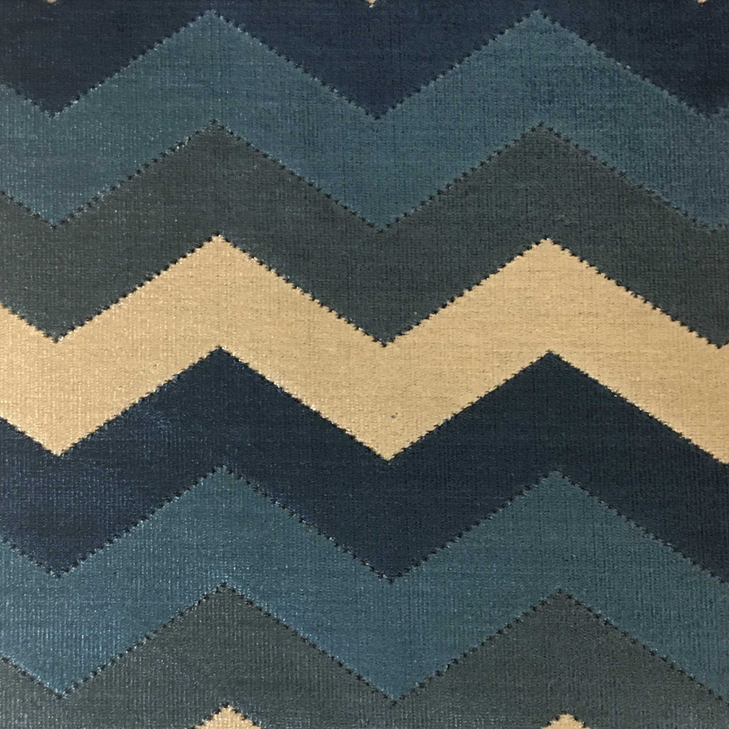 Longwood - Bold Chevron Pattern Cut Velvet Upholster Fabric by the Yard - Available in 10 Colors - Indigo - Top Fabric - 6