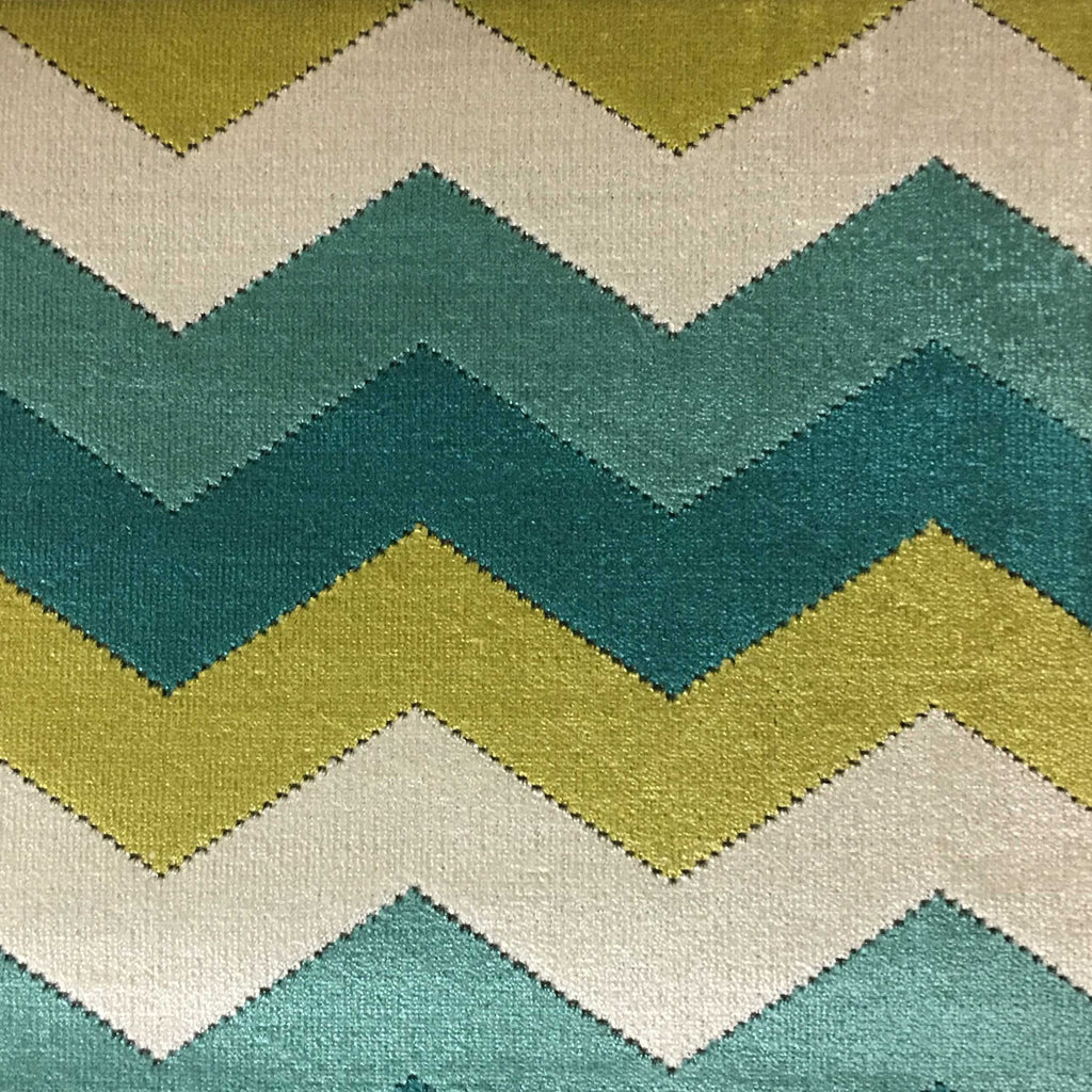 Longwood - Bold Chevron Pattern Cut Velvet Upholster Fabric by the Yard - Available in 10 Colors - Laguna - Top Fabric - 7