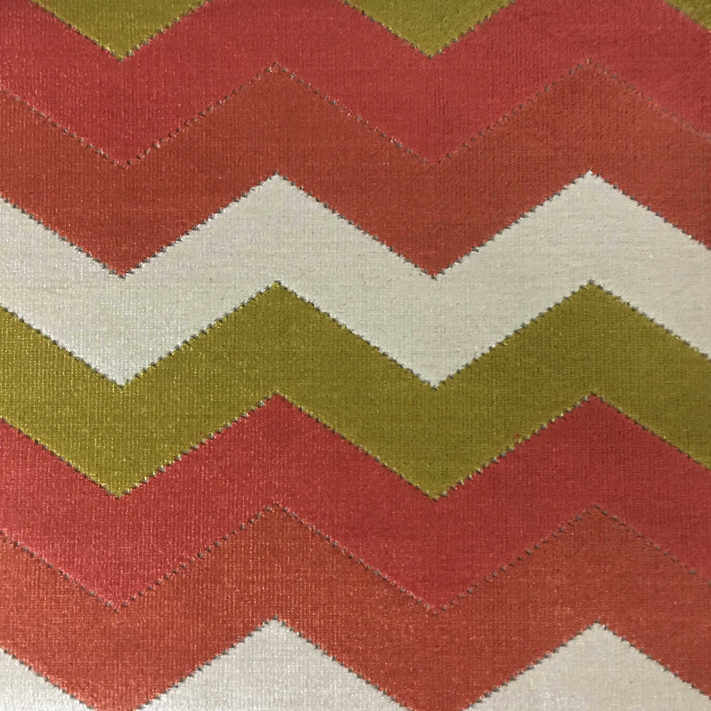 Longwood - Bold Chevron Pattern Cut Velvet Upholster Fabric by the Yard - Available in 10 Colors - Sorbet - Top Fabric - 4