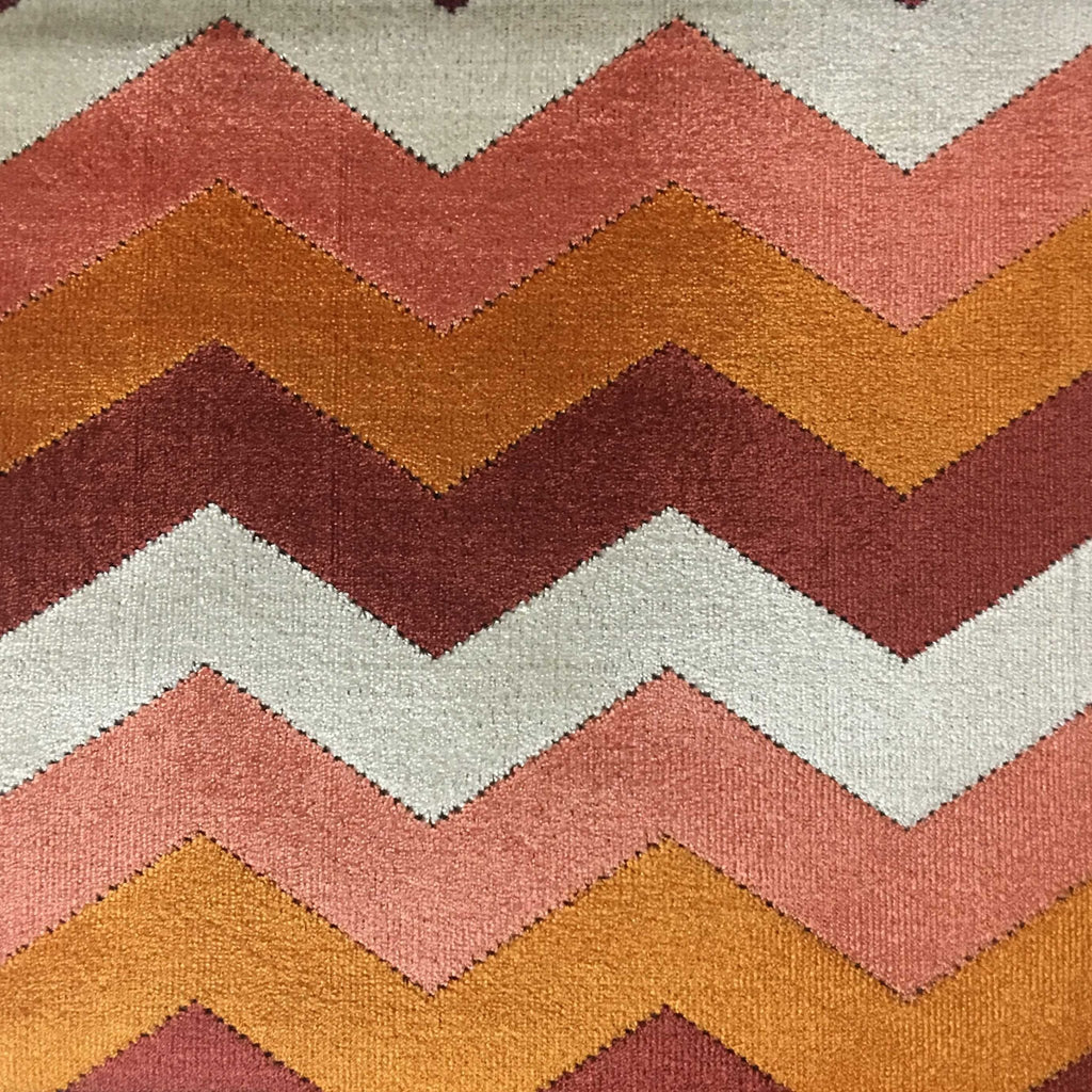 Longwood - Bold Chevron Pattern Cut Velvet Upholster Fabric by the Yard - Available in 10 Colors - Sunset - Top Fabric - 2