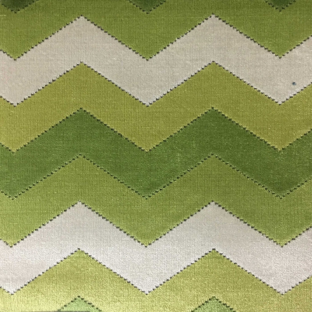 Longwood - Bold Chevron Pattern Cut Velvet Upholster Fabric by the Yard - Available in 10 Colors - Wheatgrass - Top Fabric - 9