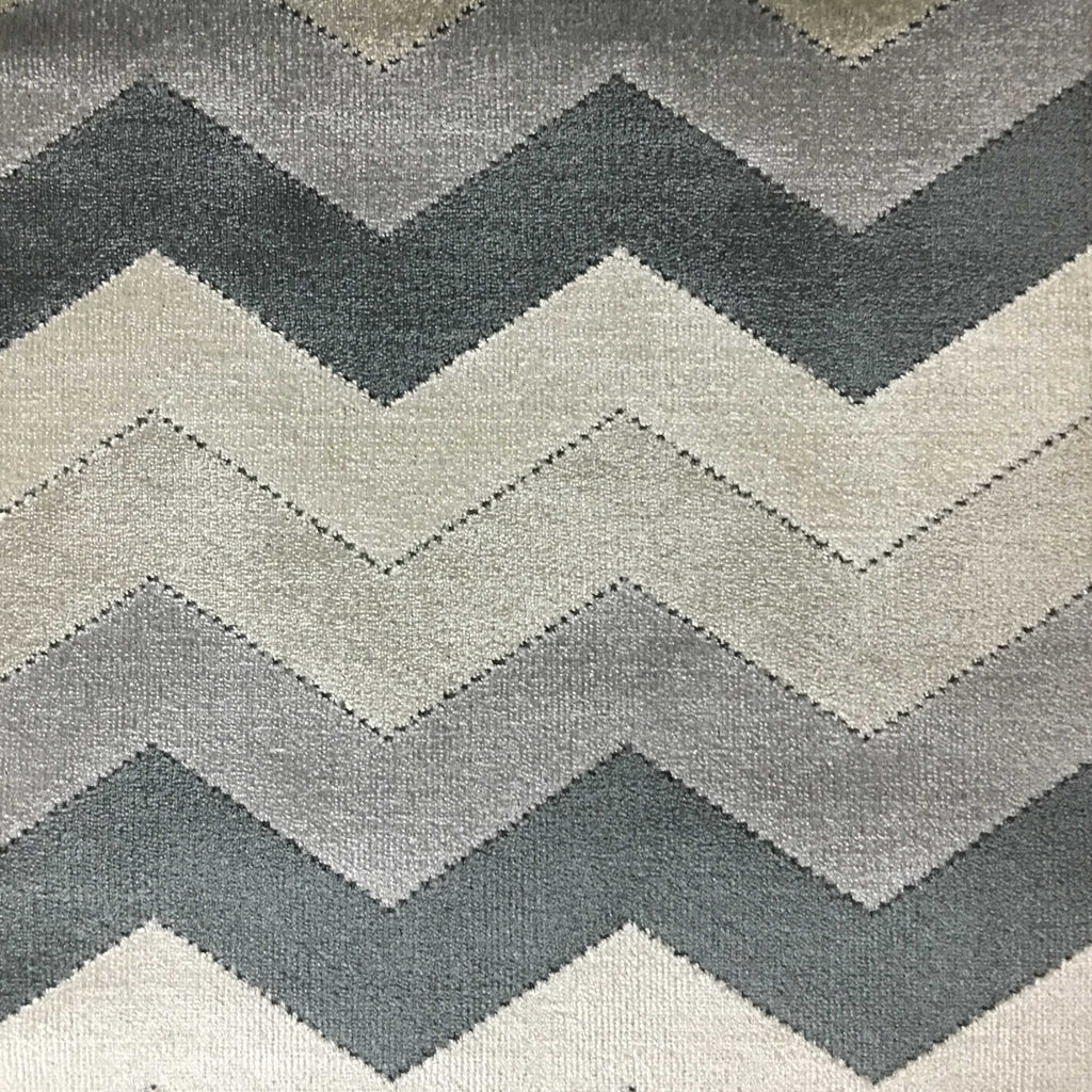 Longwood - Bold Chevron Pattern Cut Velvet Upholster Fabric by the Yard - Available in 10 Colors - Zinc - Top Fabric - 10