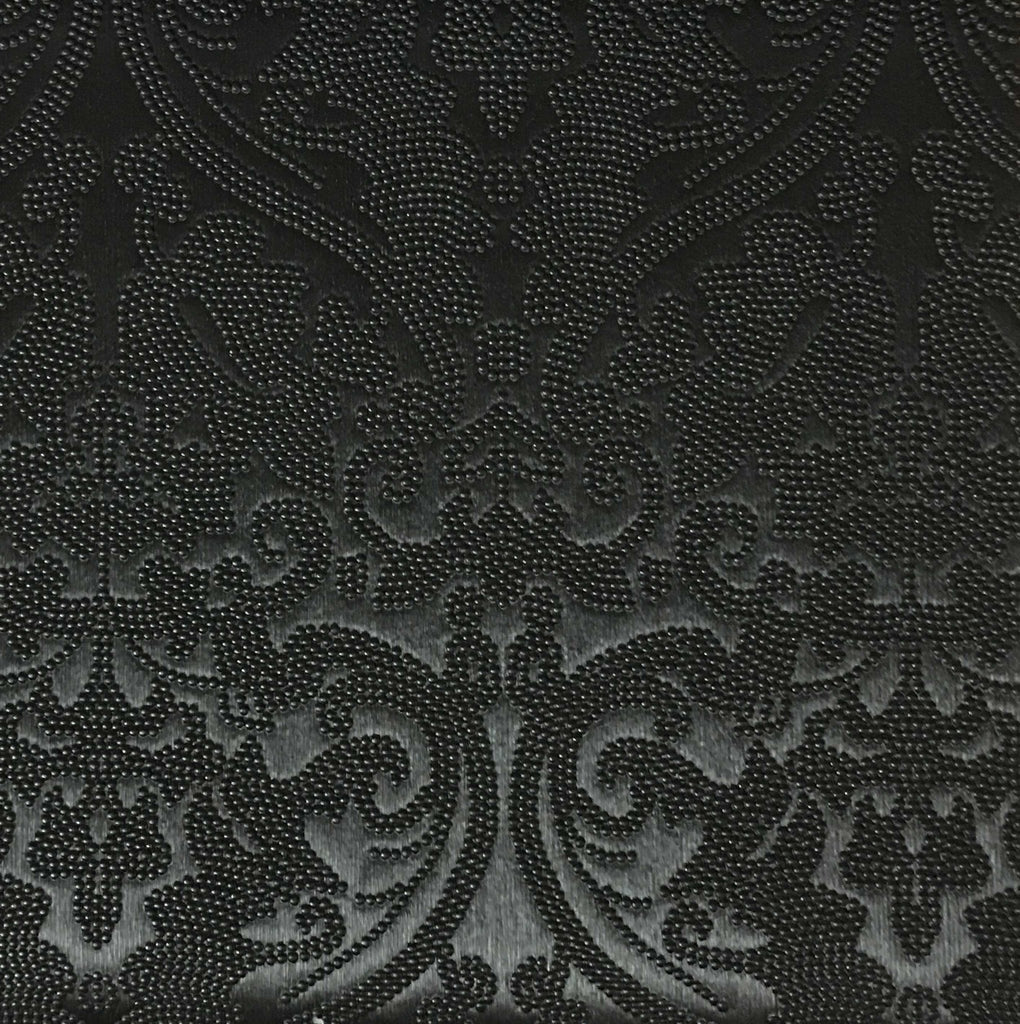 Lyon - Embossed Damask Pattern Vinyl Upholstery Fabric by the Yard - Available in 8 Colors - Black - Top Fabric - 5