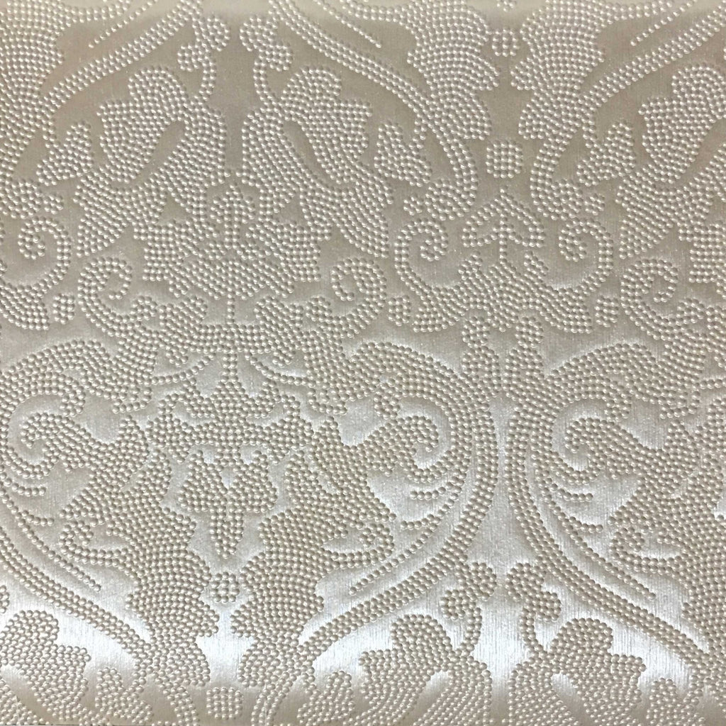 Lyon - Embossed Damask Pattern Vinyl Upholstery Fabric by the Yard - Available in 8 Colors - Blush - Top Fabric - 3