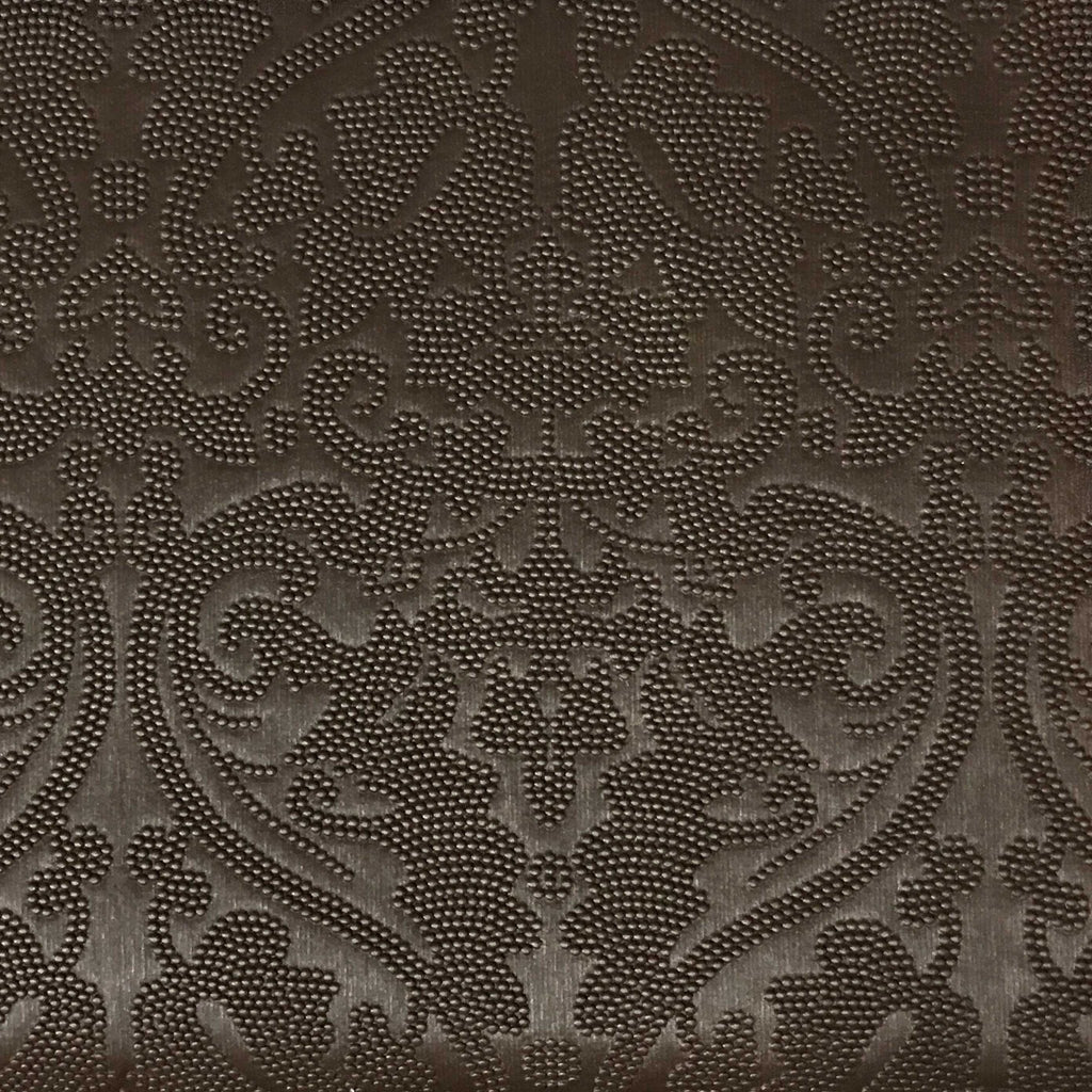 Lyon - Embossed Damask Pattern Vinyl Upholstery Fabric by the Yard - Available in 8 Colors - Bronze - Top Fabric - 7