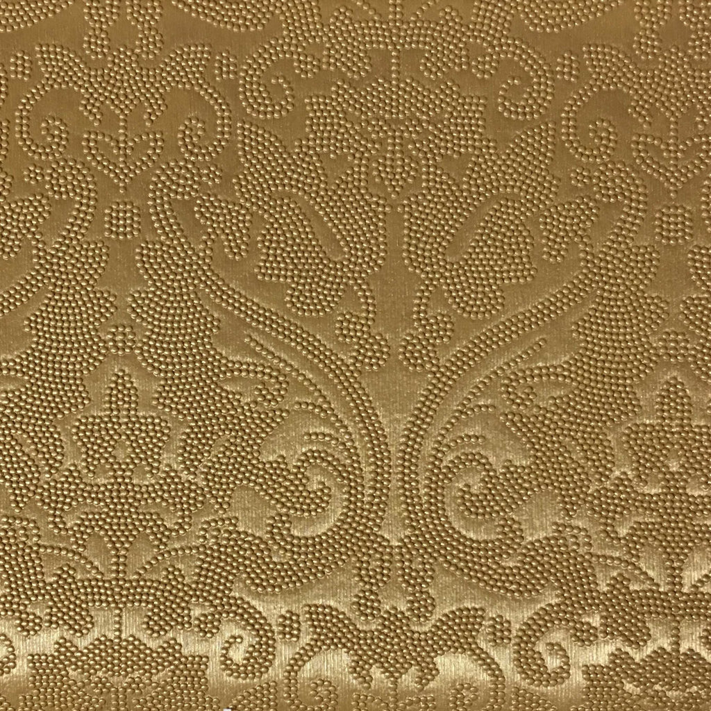 Lyon - Embossed Damask Pattern Vinyl Upholstery Fabric by the Yard - Available in 8 Colors - Gold - Top Fabric - 8