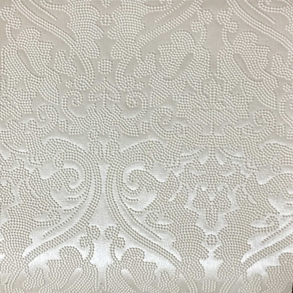 Lyon - Embossed Damask Pattern Vinyl Upholstery Fabric by the Yard - Available in 8 Colors - Pearl - Top Fabric - 2