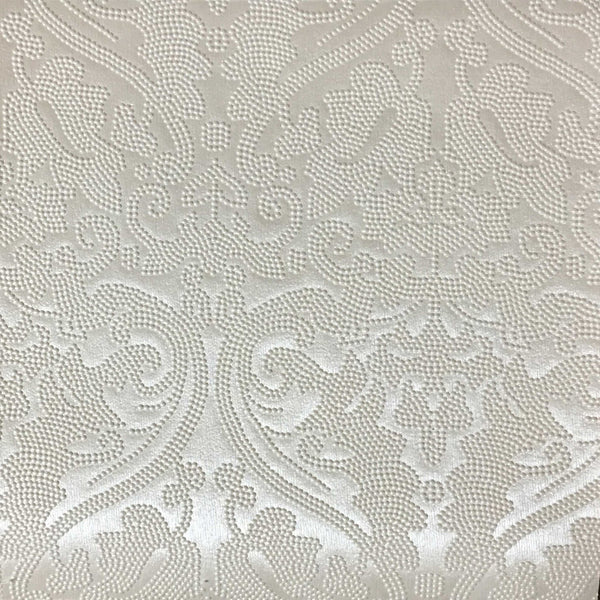 Lyon - Embossed Damask Pattern Vinyl Upholstery Fabric by the Yard - Available in 8 Colors - Silver - Top Fabric - 1
