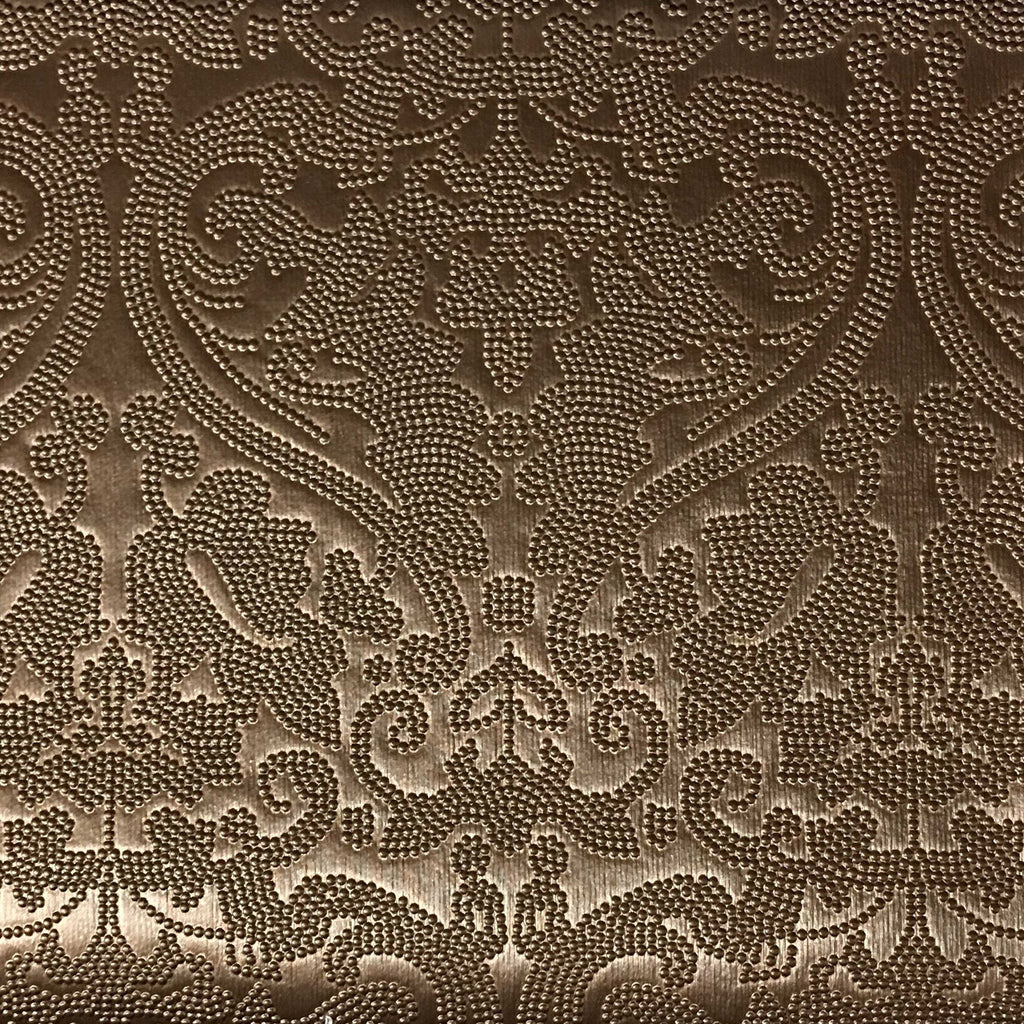 Lyon - Embossed Damask Pattern Vinyl Upholstery Fabric by the Yard - Available in 8 Colors - Penny - Top Fabric - 6