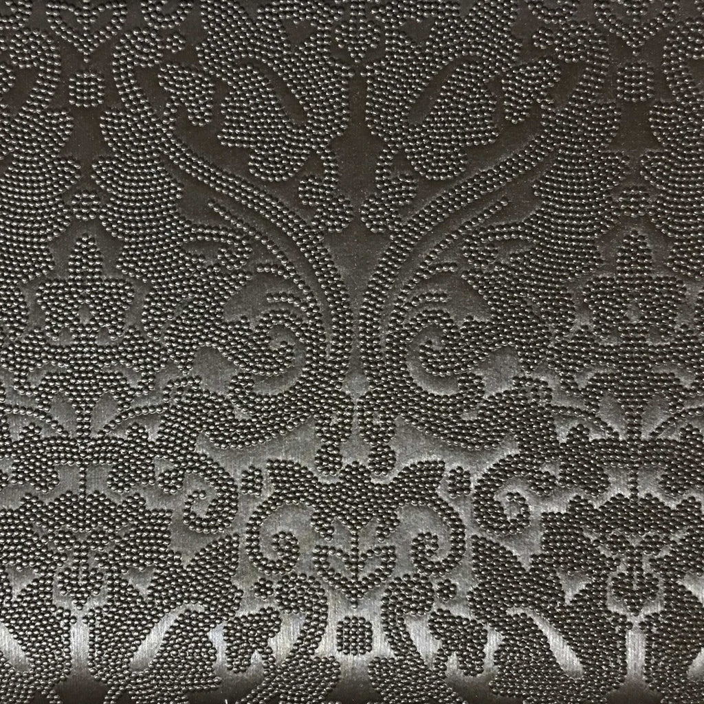 Lyon - Embossed Damask Pattern Vinyl Upholstery Fabric by the Yard - Available in 8 Colors - Pewter - Top Fabric - 4