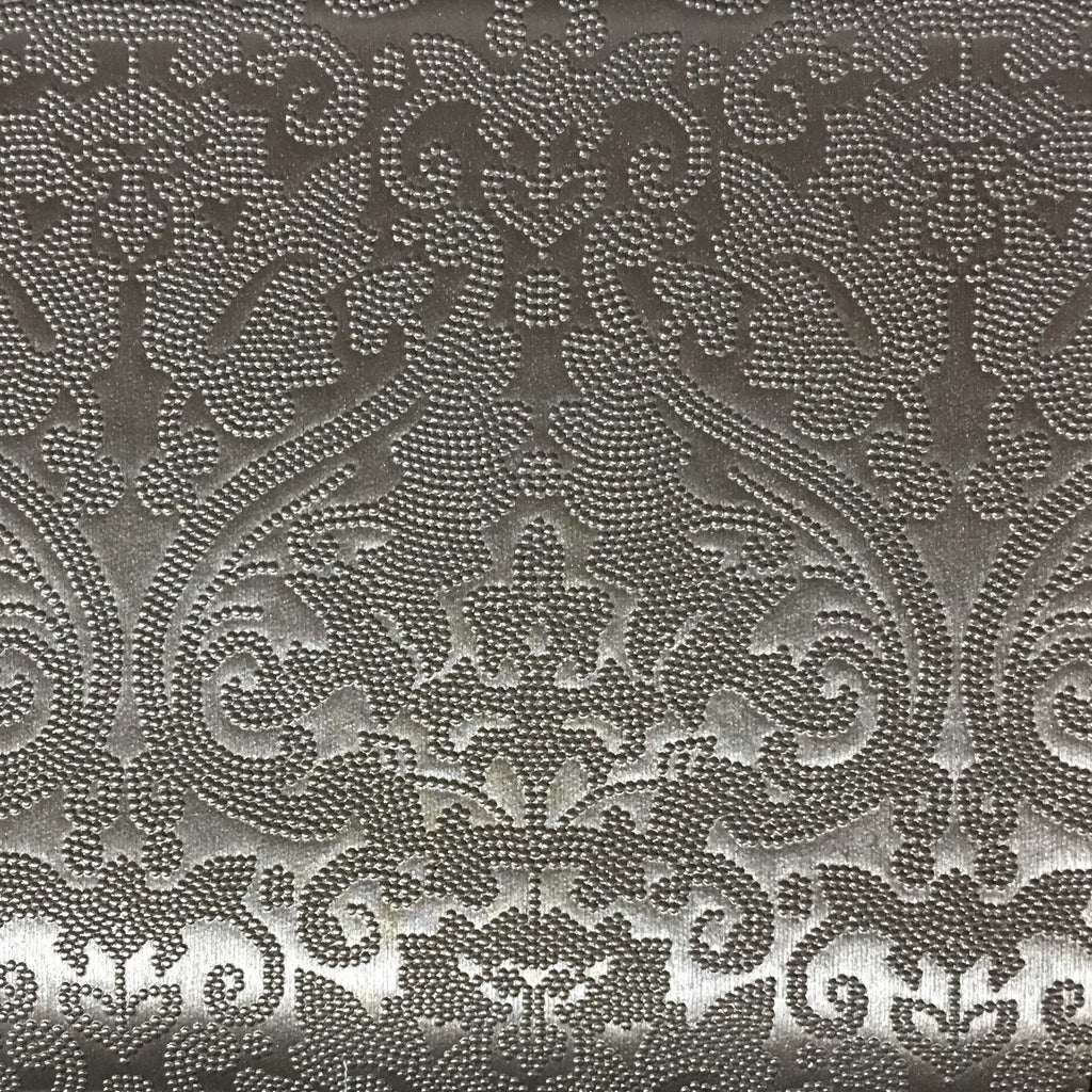 Embossed Damask Pattern Vinyl Upholstery Fabric By