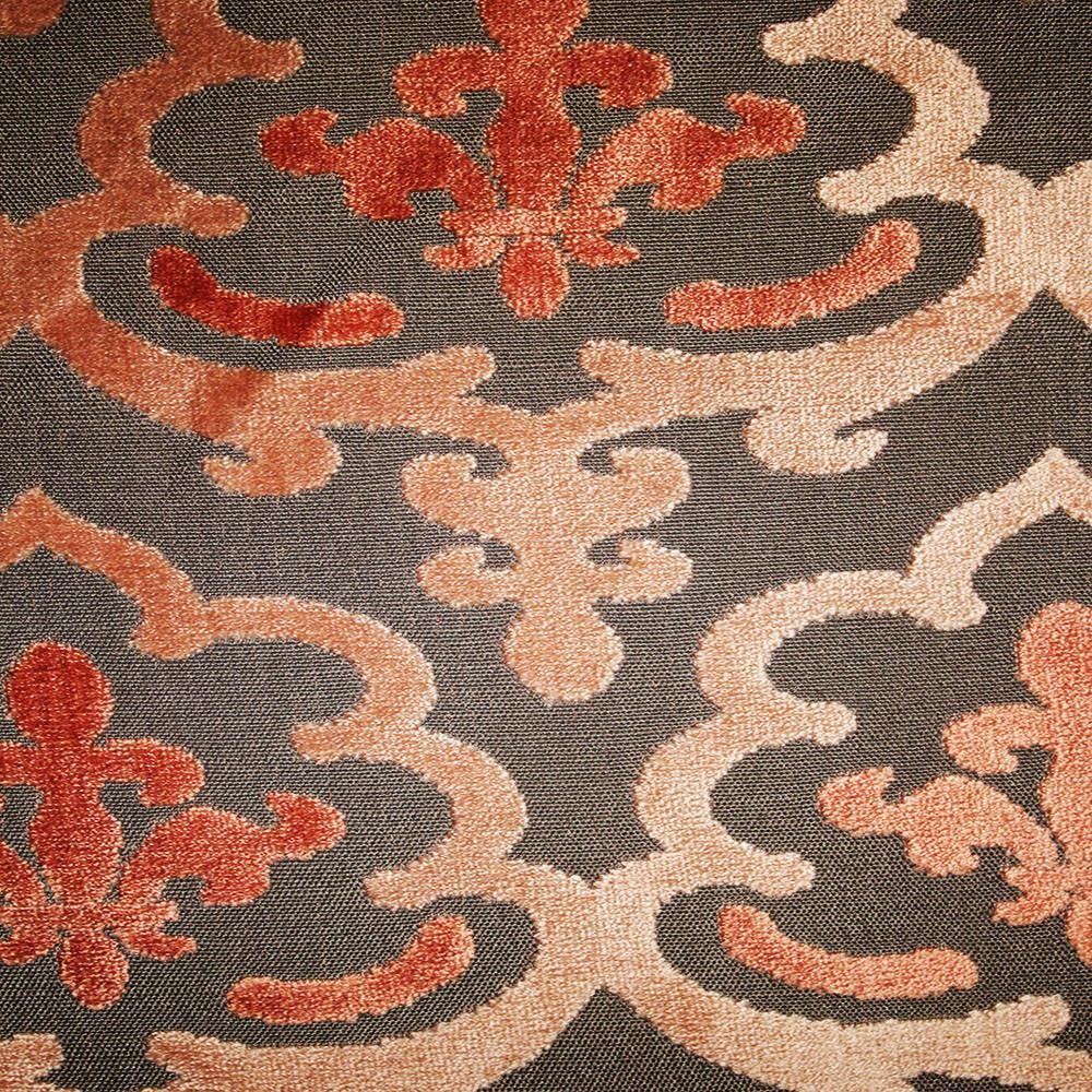 Temple Damask Pattern Cut Velvet Upholstery Fabric By The Yard