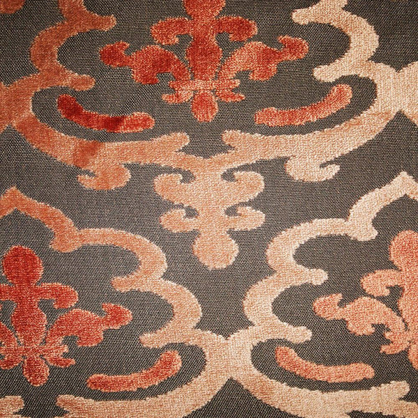 Temple Damask Pattern Cut Velvet Upholstery Fabric By
