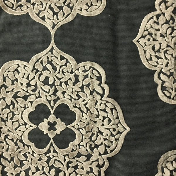 Mayfair - Burnout Velvet Fabric Drapery & Upholstery Fabric by the Yard - Available in 12 Colors - Steel - Top Fabric - 1