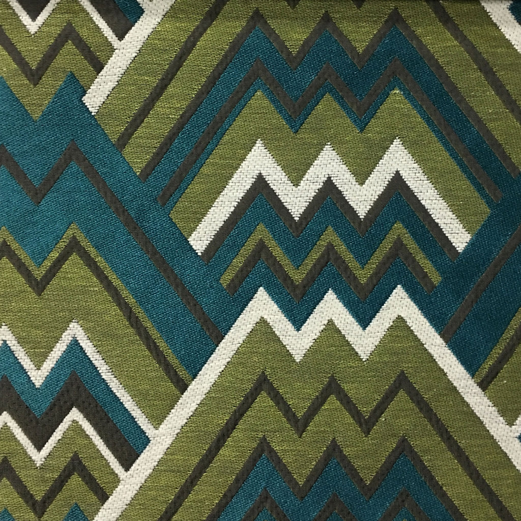 Mesa - Mixed Construction Geometric Pattern Cotton Blend Upholstery Fabric by the Yard - Available in 8 Colors - Laguna - Top Fabric - 3