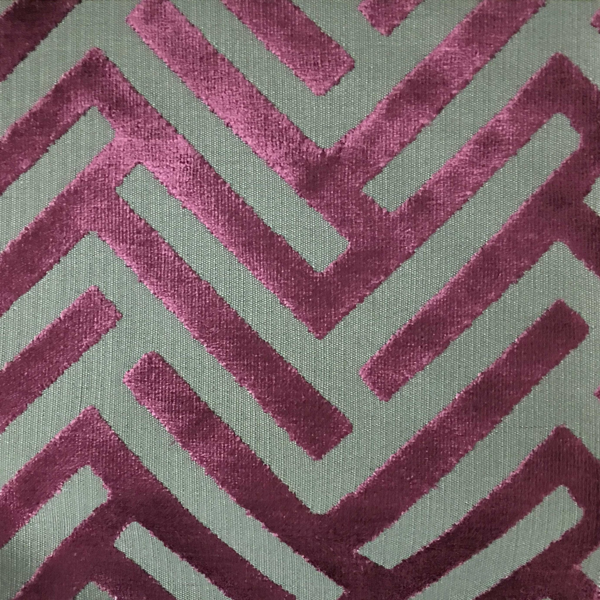 Ministry Geometric Pattern Cut Velvet Upholstery Fabric By The Yard