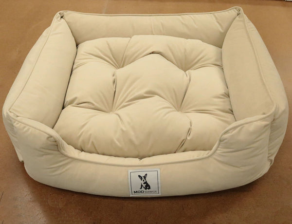 Sadie - Beautiful Lounger Pet Bed with Reversible Pillow - Buckwheat