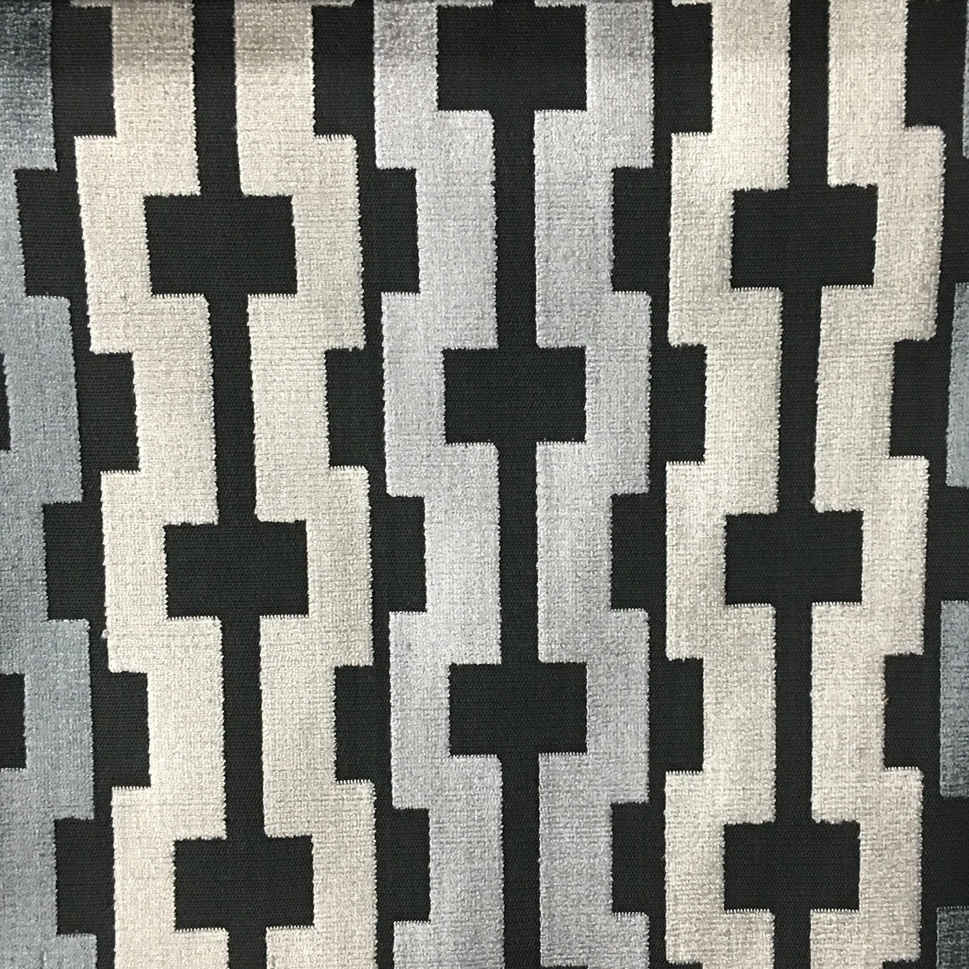 Piccadilly Geometric Cut Velvet Upholstery Fabric By The Yard