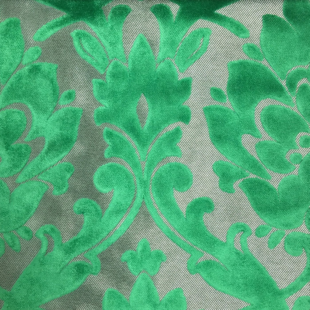 Radcliffe - Damask Pattern Lurex Burnout Velvet Upholstery Fabric by the Yard - Available in 23 Colors - Emerald - Top Fabric - 23