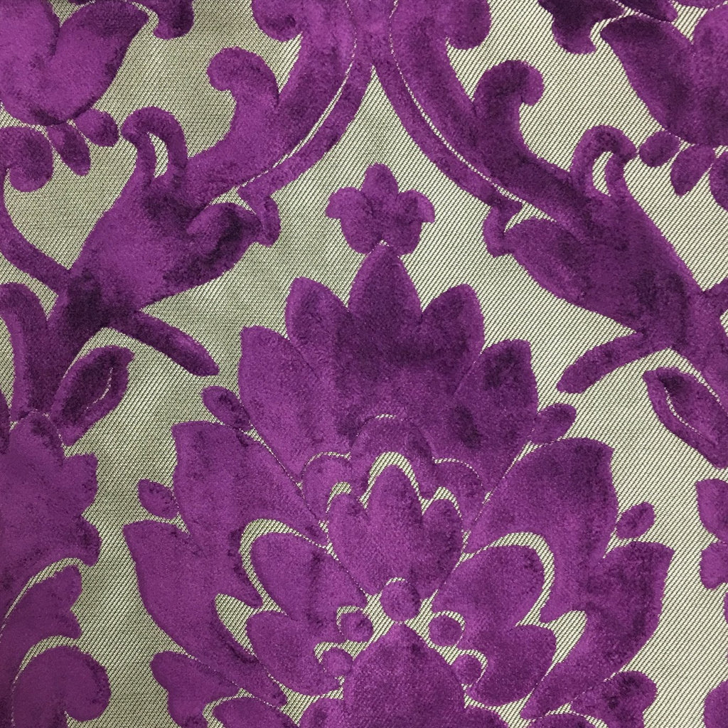 Radcliffe - Damask Pattern Lurex Burnout Velvet Upholstery Fabric by the Yard - Available in 23 Colors - Grape - Top Fabric - 11