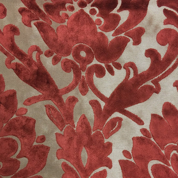 Radcliffe - Damask Pattern Lurex Burnout Velvet Upholstery Fabric by the Yard - Available in 23 Colors - Henna - Top Fabric - 5