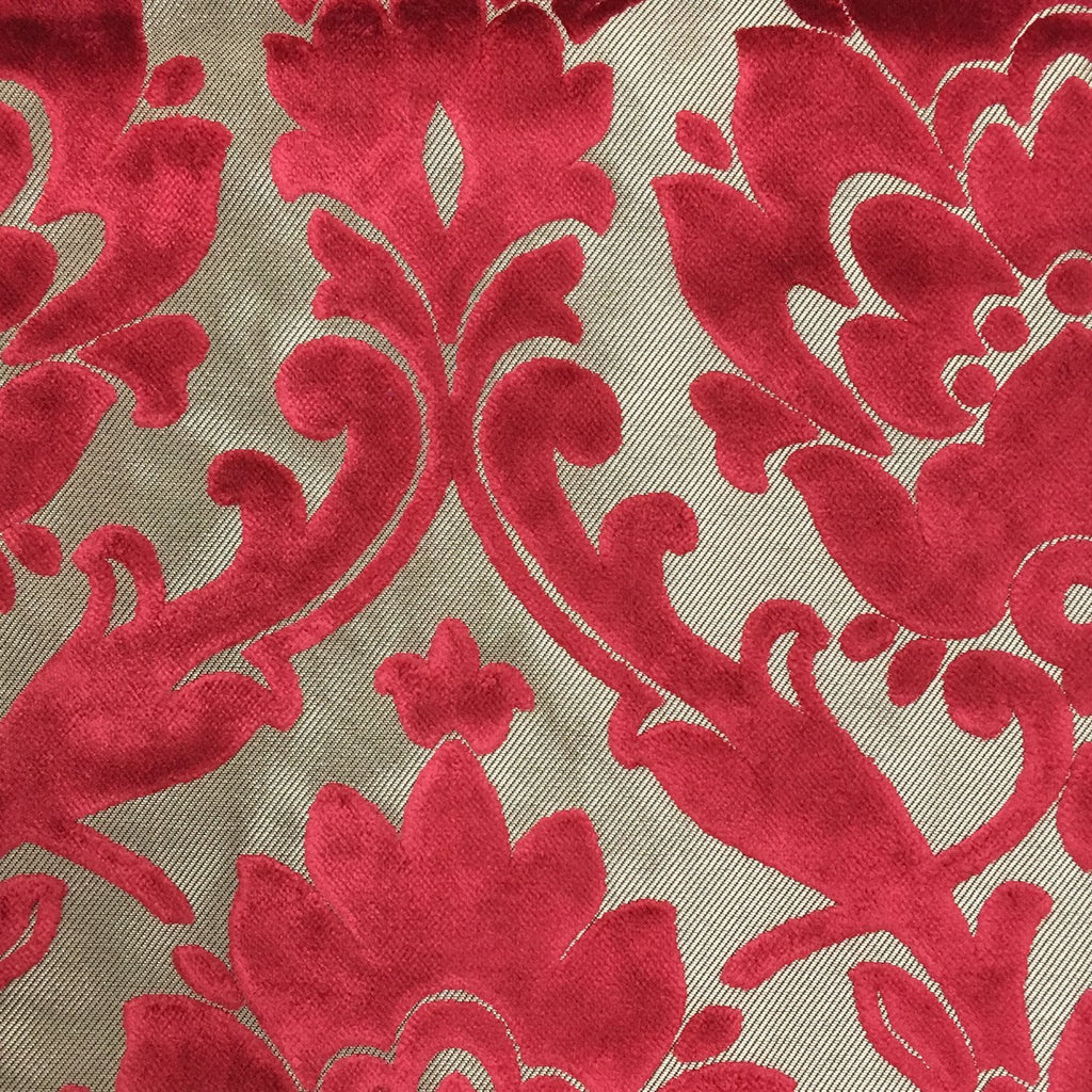 Radcliffe - Damask Pattern Lurex Burnout Velvet Upholstery Fabric by the Yard - Available in 23 Colors - Lipstick - Top Fabric - 3