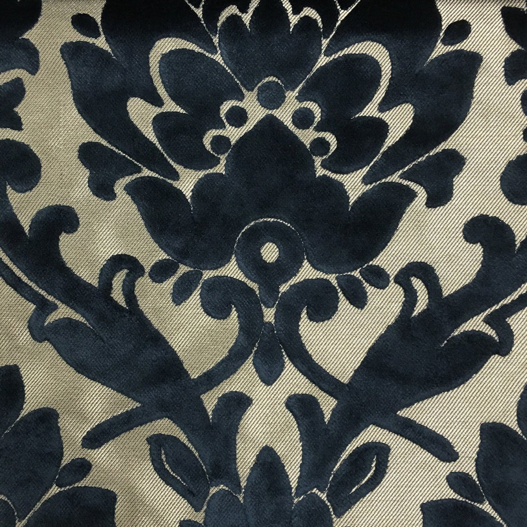 Radcliffe - Damask Pattern Lurex Burnout Velvet Upholstery Fabric by the Yard - Available in 23 Colors - Navy - Top Fabric - 15