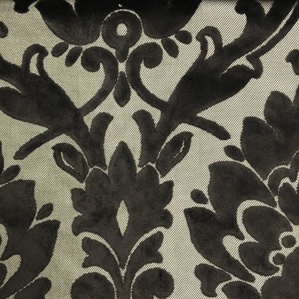 Radcliffe - Damask Pattern Lurex Burnout Velvet Upholstery Fabric by the Yard - Available in 23 Colors - Otter - Top Fabric - 45