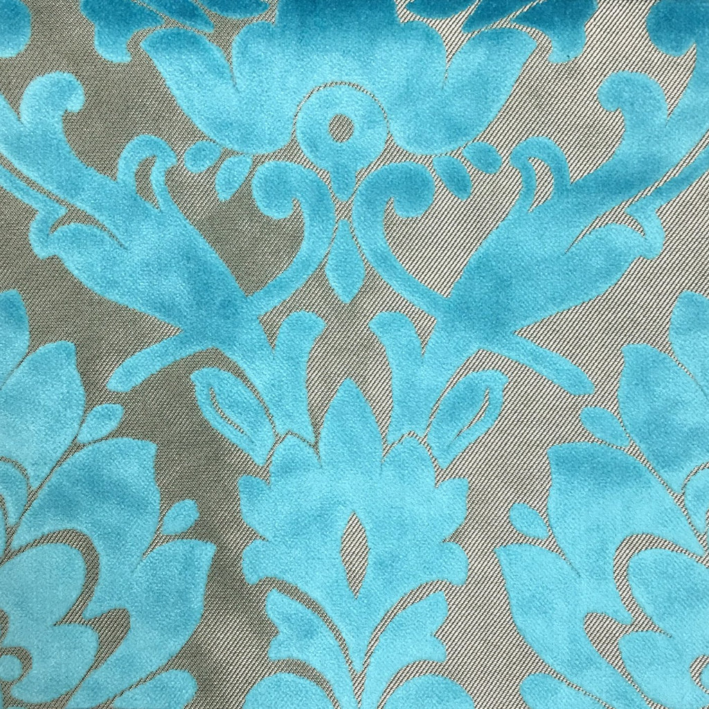 Radcliffe - Damask Pattern Lurex Burnout Velvet Upholstery Fabric by the Yard - Available in 23 Colors - Peacock - Top Fabric - 19