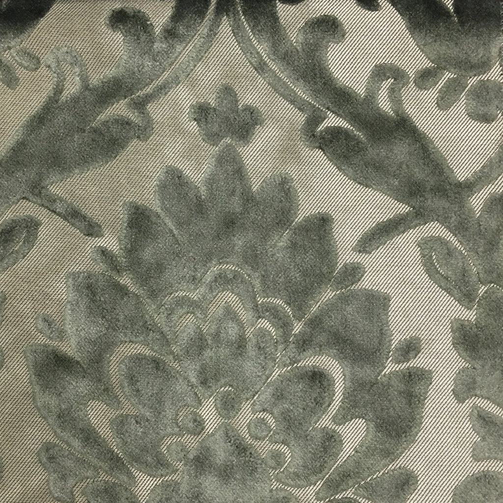 Radcliffe - Damask Pattern Lurex Burnout Velvet Upholstery Fabric by the Yard - Available in 23 Colors - Pewter - Top Fabric - 35
