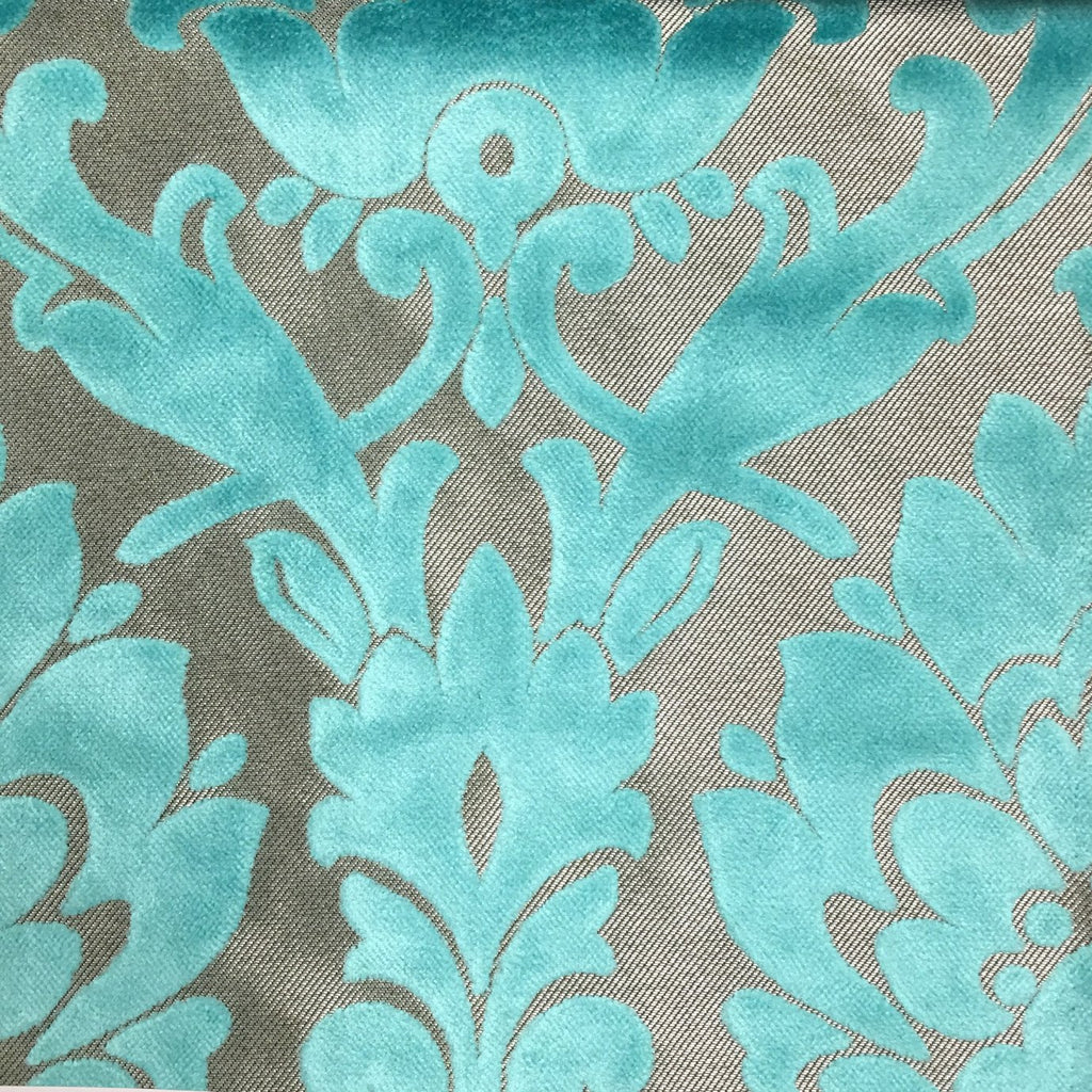 Radcliffe - Damask Pattern Lurex Burnout Velvet Upholstery Fabric by the Yard - Available in 23 Colors - Pool - Top Fabric - 21