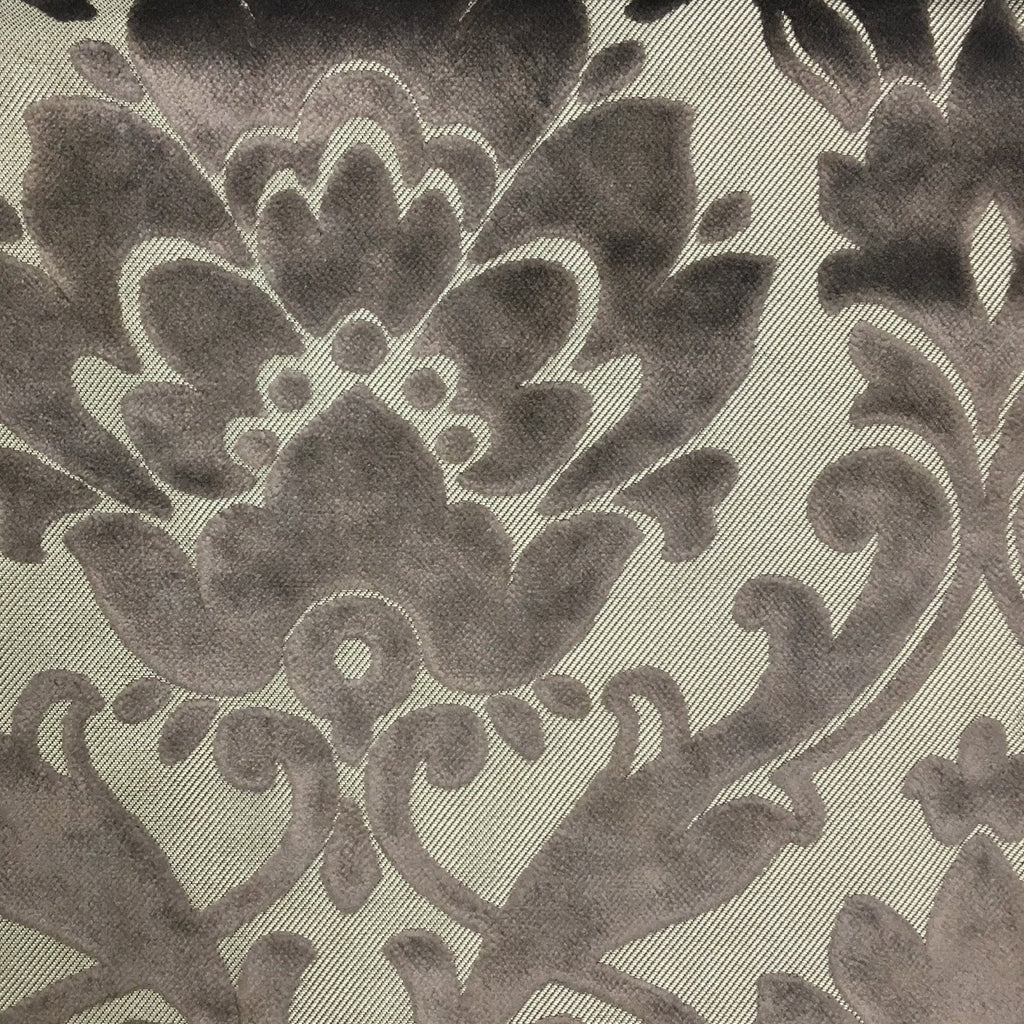 Radcliffe - Damask Pattern Lurex Burnout Velvet Upholstery Fabric by the Yard - Available in 23 Colors - Smoke - Top Fabric - 39
