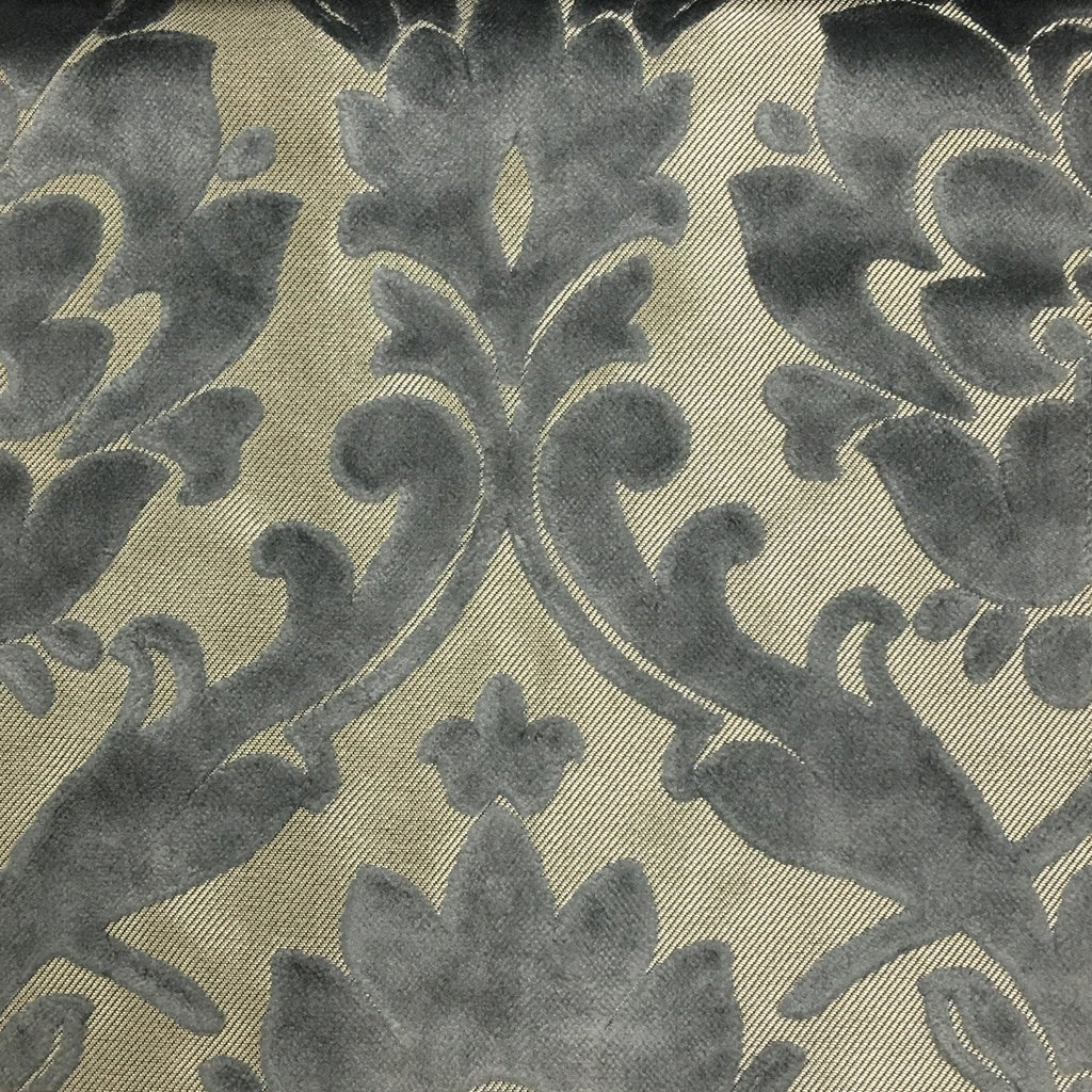 Radcliffe - Damask Pattern Lurex Burnout Velvet Upholstery Fabric by the Yard - Available in 23 Colors - Steel - Top Fabric - 37
