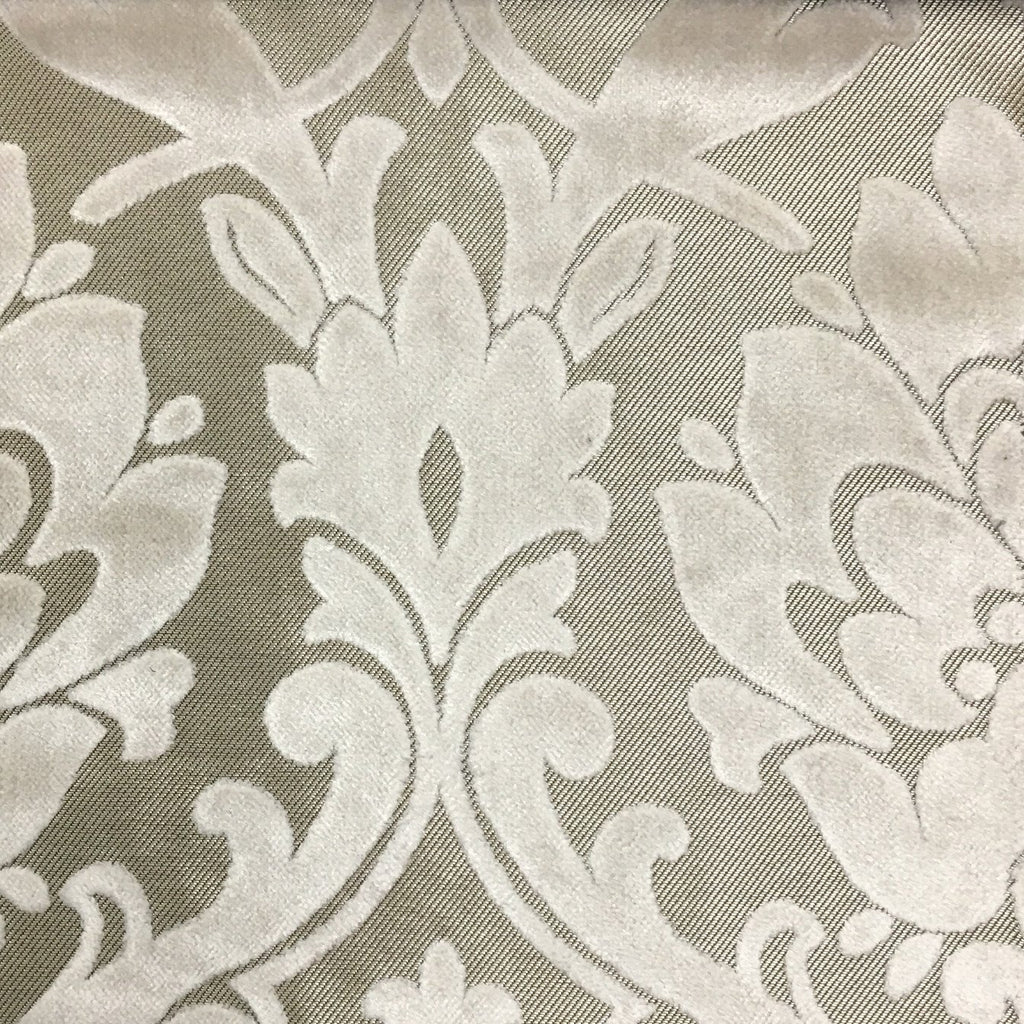 Radcliffe - Damask Pattern Lurex Burnout Velvet Upholstery Fabric by the Yard - Available in 23 Colors - Vanilla - Top Fabric - 44