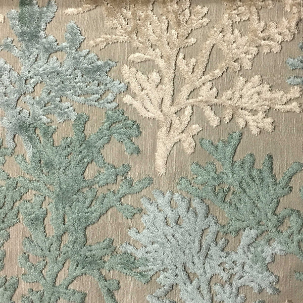 Reef - Coral Pattern Cut Velvet Fabric Drapery & Upholstery Fabric by - Top Fabric