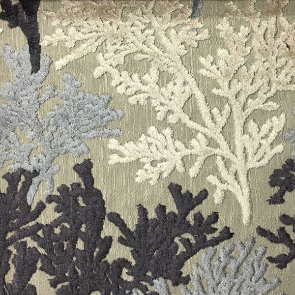 Reef - Coral Pattern Cut Velvet Upholstery Fabric by the Yard - Available in 8 Colors - Platinum - Top Fabric - 1