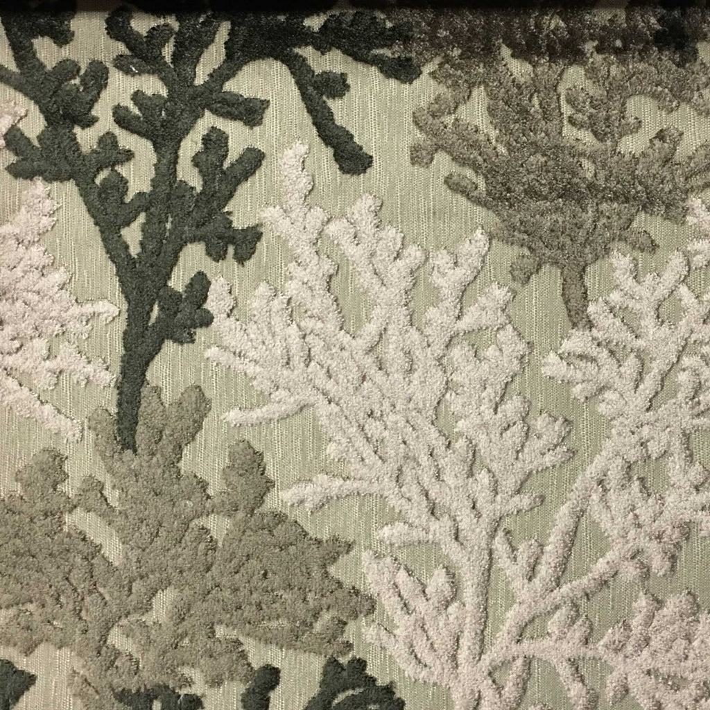 Reef - Coral Pattern Cut Velvet Upholstery Fabric by the Yard