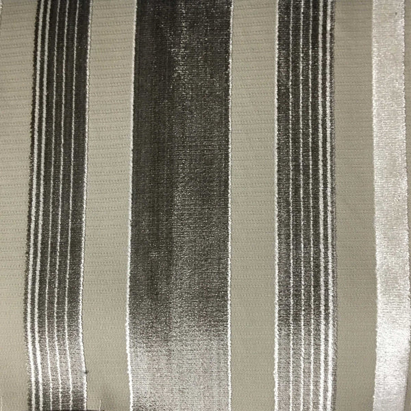 Richmond - Striped Cut Velvet Upholstery Fabric by the Yard - Available in 12 Colors - Domino - Top Fabric - 1