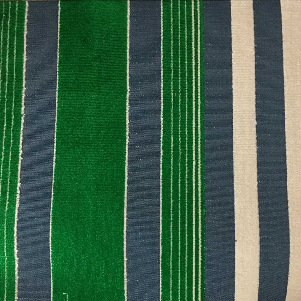 Richmond - Striped Cut Velvet Upholstery Fabric by the Yard - Available in 12 Colors - Emerald - Top Fabric - 6