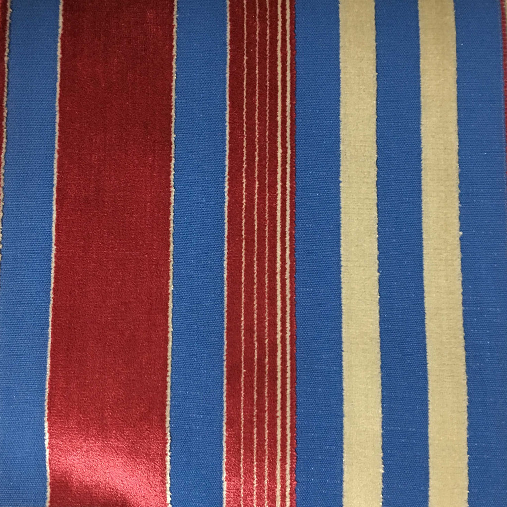 Richmond - Striped Cut Velvet Upholstery Fabric by the Yard - Available in 12 Colors - Oxblood - Top Fabric - 7