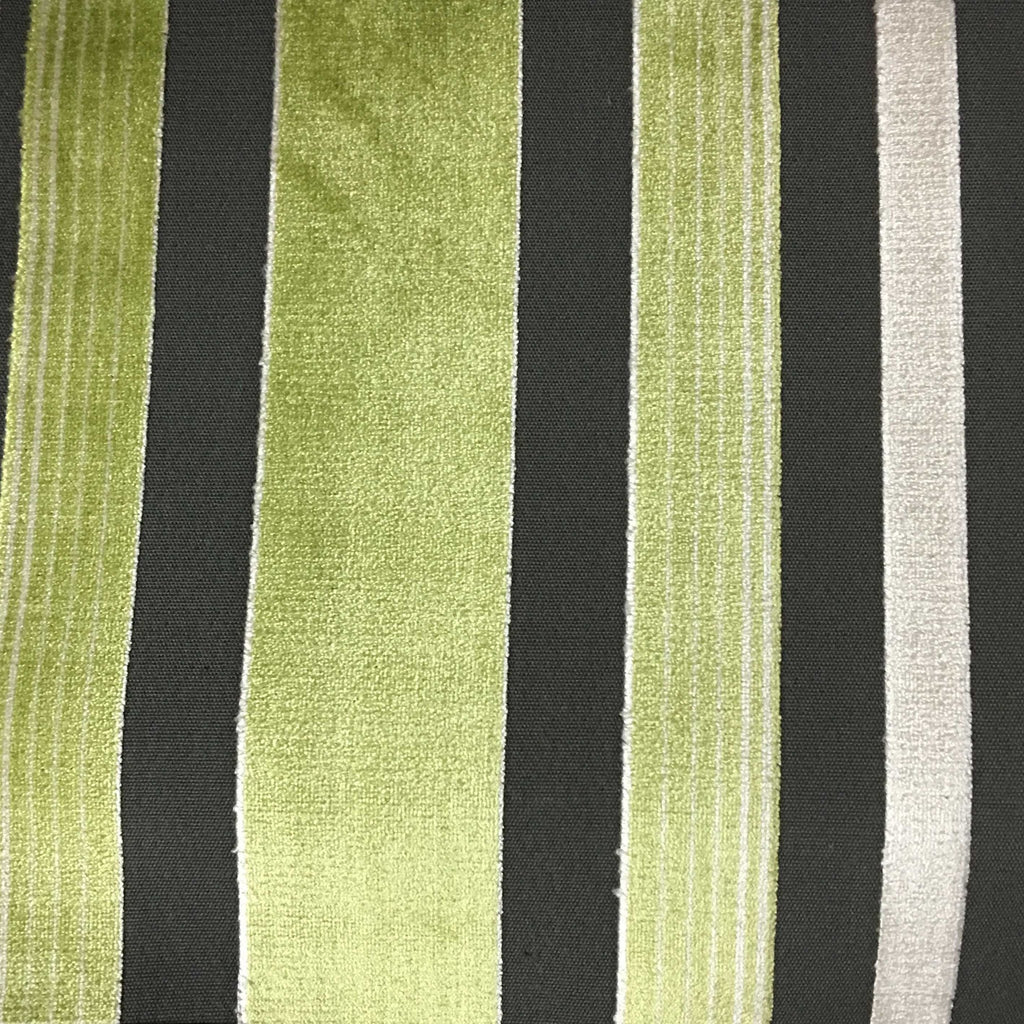 Richmond - Striped Cut Velvet Upholstery Fabric by the Yard - Available in 12 Colors - Wheatgrass - Top Fabric - 11
