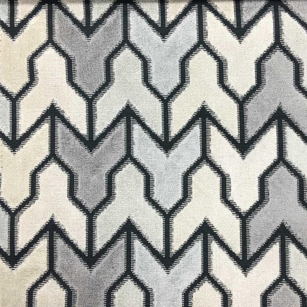 Rocket - Geometric Pattern Cut Velvet Upholstery Fabric by the Yard - Available in 14 Colors - Carrara - Top Fabric - 1