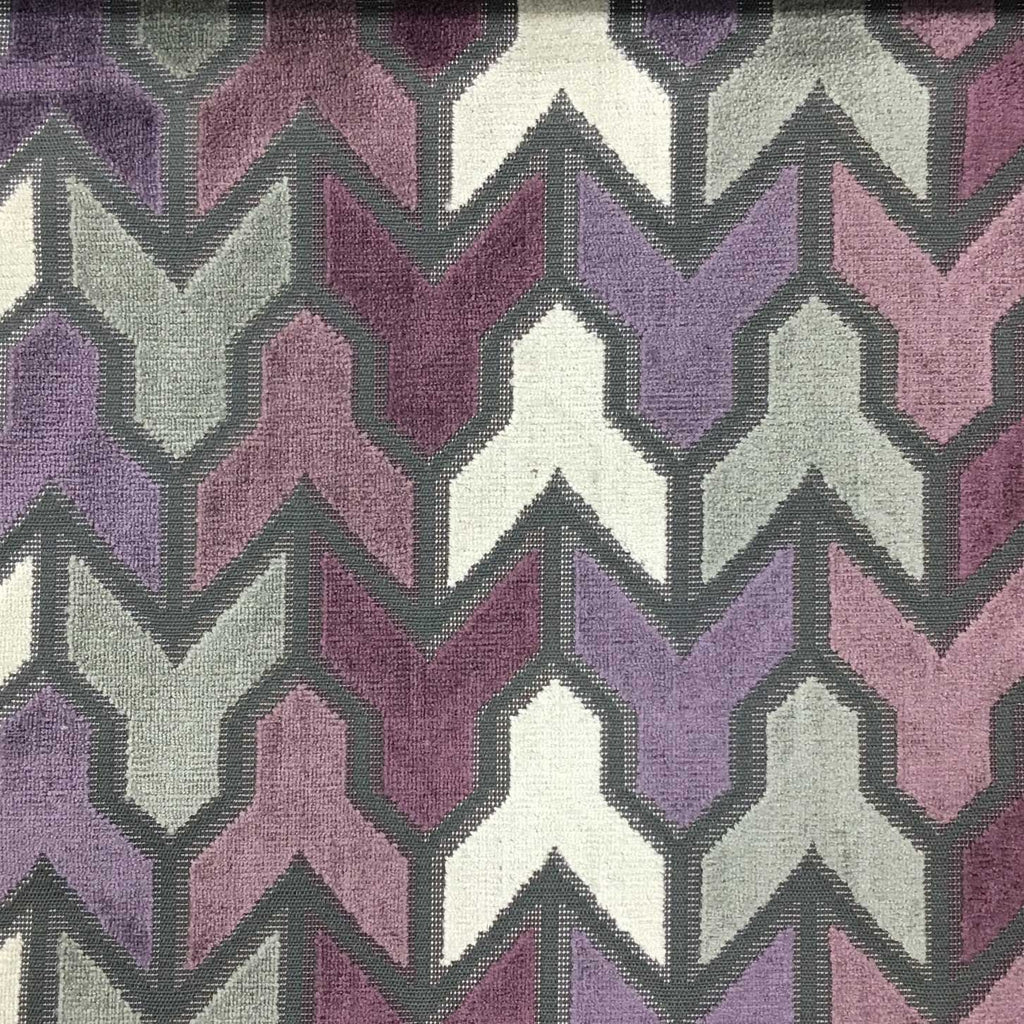 Rocket - Geometric Pattern Cut Velvet Upholstery Fabric by the Yard - Available in 14 Colors - Fig - Top Fabric - 2